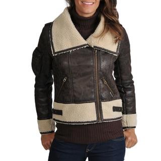 Members Only Women's Maddy Faux Shearling Flight Jacket