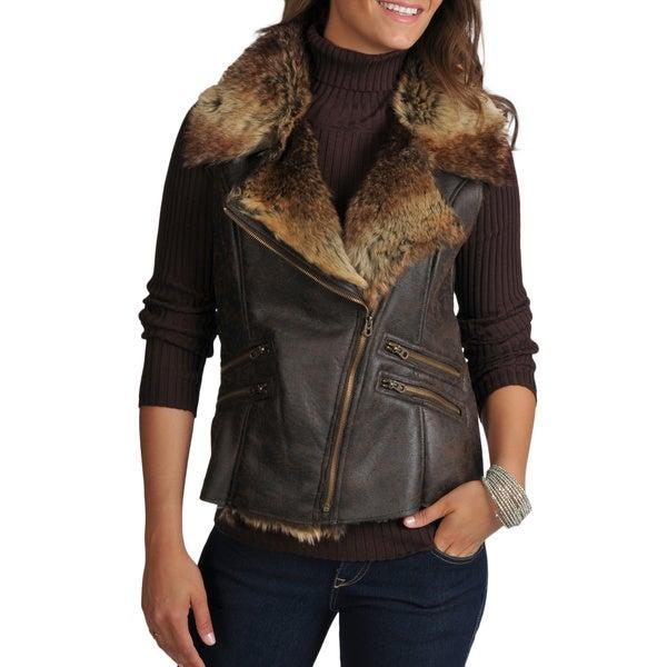 Members Only Women's Natalie Faux Shearling Asymmetrical Zip Moto Vest