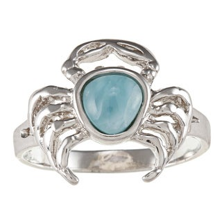 Sterling Silver Larimar Gemstone Crab Ring