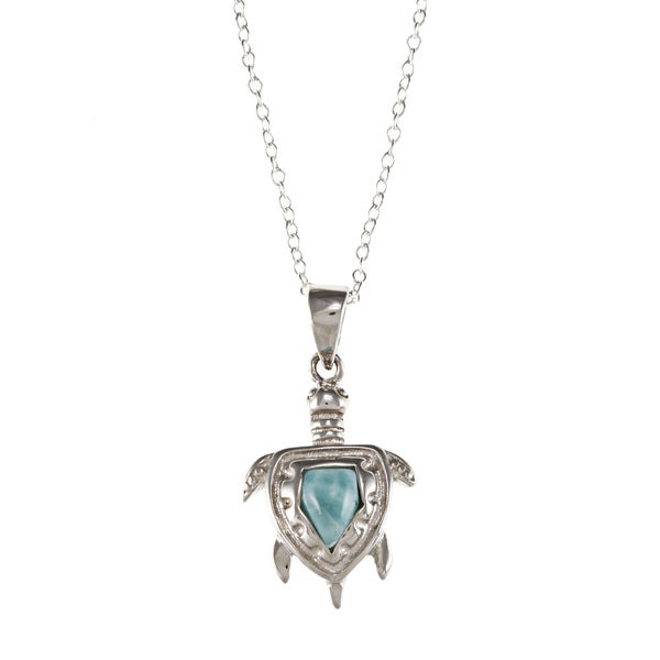 Sterling Silver Larimar Gemstone Turtle Necklace