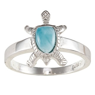 Sterling Silver Larimar Gemstone Turtle Ring