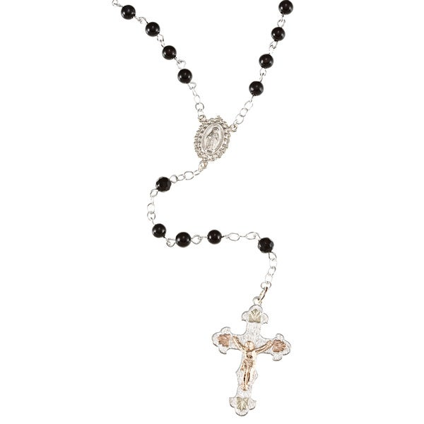 Black Hills Gold and Sterling Silver Onyx Rosary Necklace
