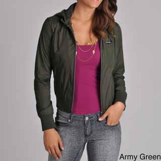 Members Only Women's Classic Nylon Hoodie Bomber with Jersey Hood Lining