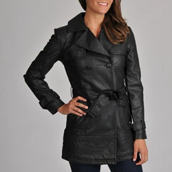 Members Only Women's Faux-Leather Trench Coat