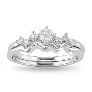 Miadora 14k White Gold 1/4ct TDW Diamond Ring Set (H-I, I2-I3)