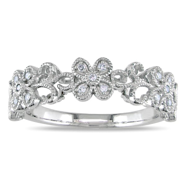 Miadora 10k White Gold Diamond Flower Ring (H-I, I2-I3)