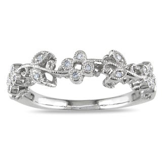 Miadora 10k White Gold Diamond Flower Ring (H-I, I2-I3)