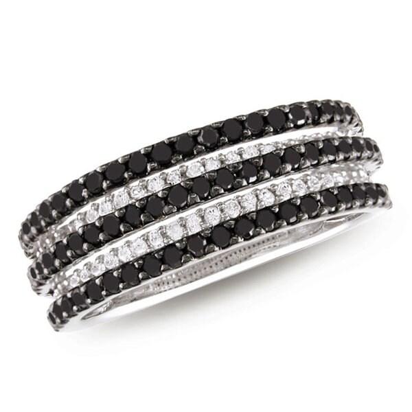 Miadora Sterling Silver 1ct TDW Black and White Diamond Ring (H-I, I3)