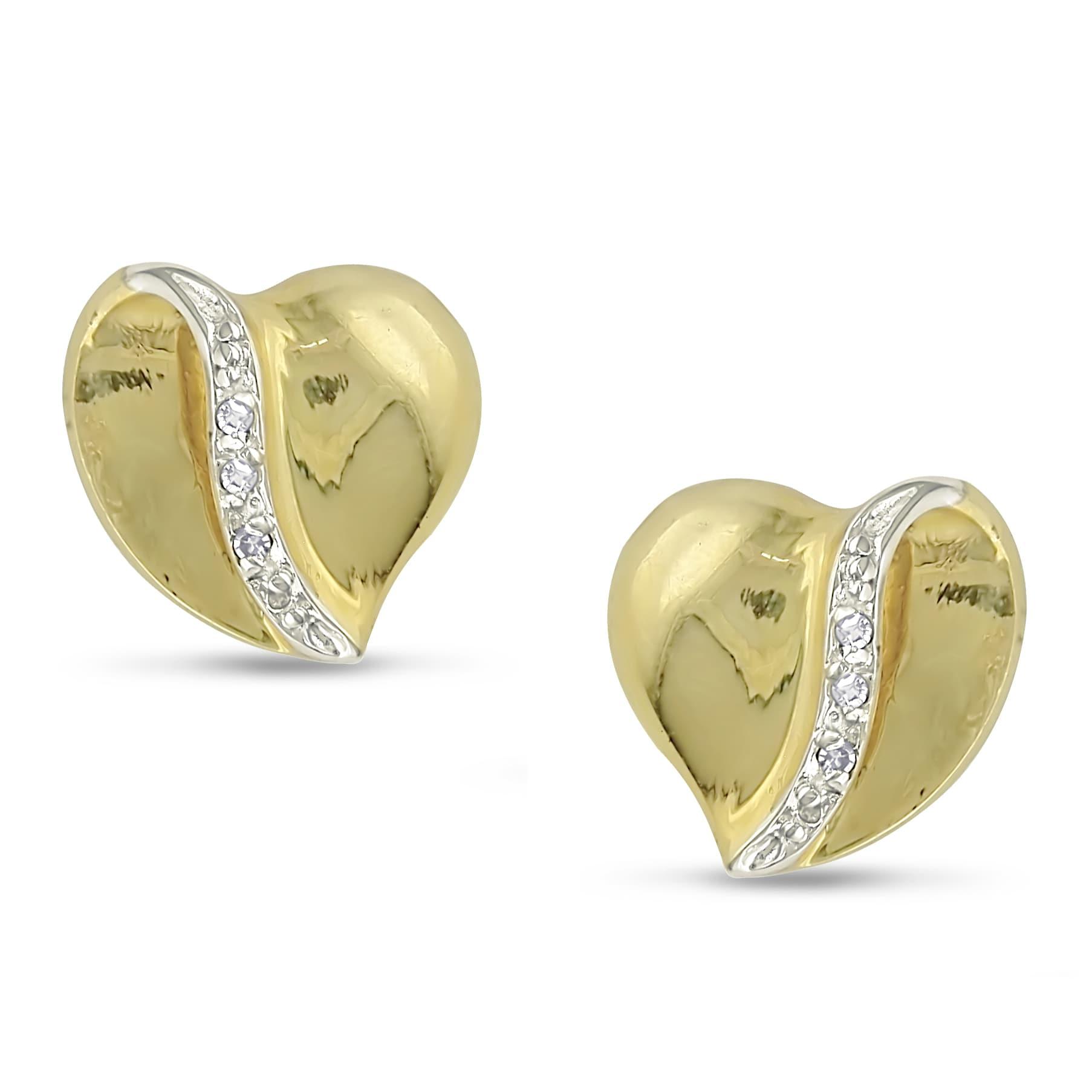 Haylee Jewels 10k Yellow Gold Diamond Heart Earrings (H-I, I2-I3)
