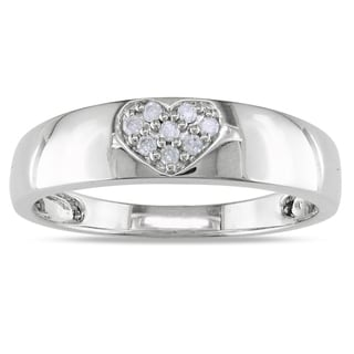 Miadora 14k White Gold Diamond Heart Ring (H-I, I2-I3)