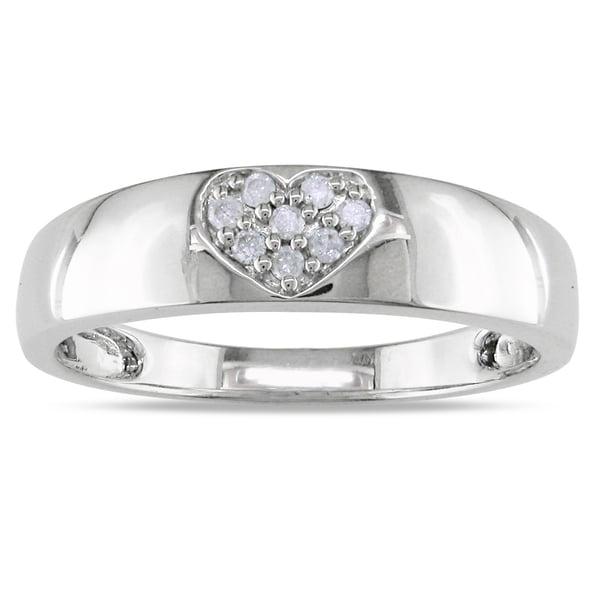 Miadora 14k White Gold Diamond Heart Ring (H-I, I2-I3)