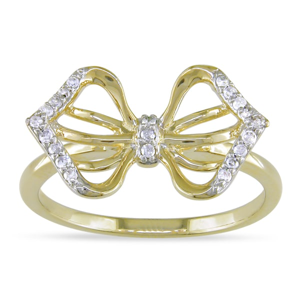 Miadora 14k Yellow Gold 1/10ct TDW Diamond Ring (I-J, I2-I3)