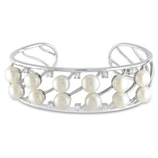 Miadora Sterling Silver Freshwater Pearl and CZ Bangle