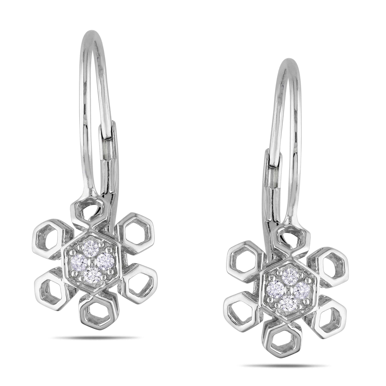 Haylee Jewels Sterling Silver 1/10ct TDW Diamond Earrings (G-H, I1-I2)