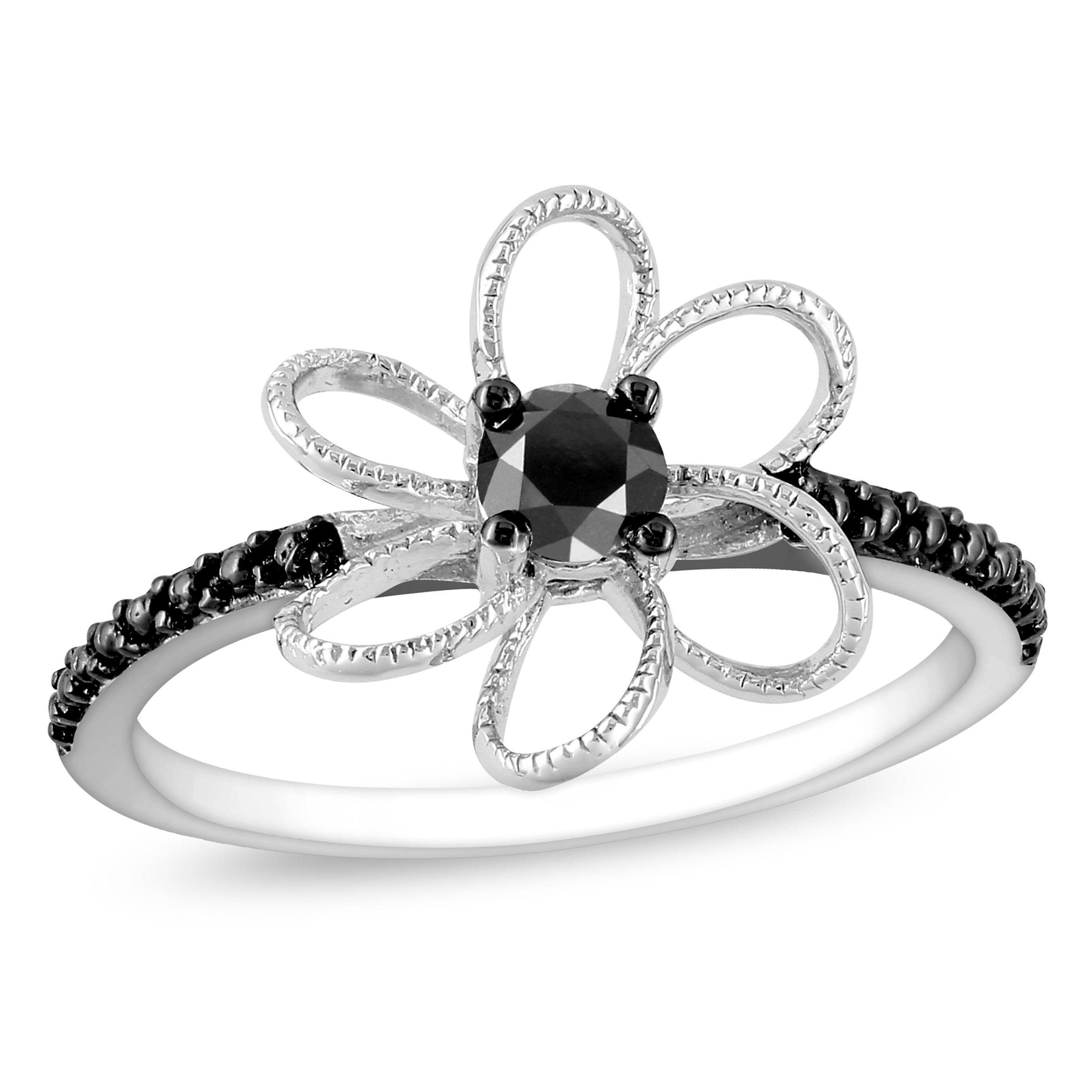 Haylee Jewels Sterling Silver 1/4ct TDW Black Prong-set Diamond Flower Ring