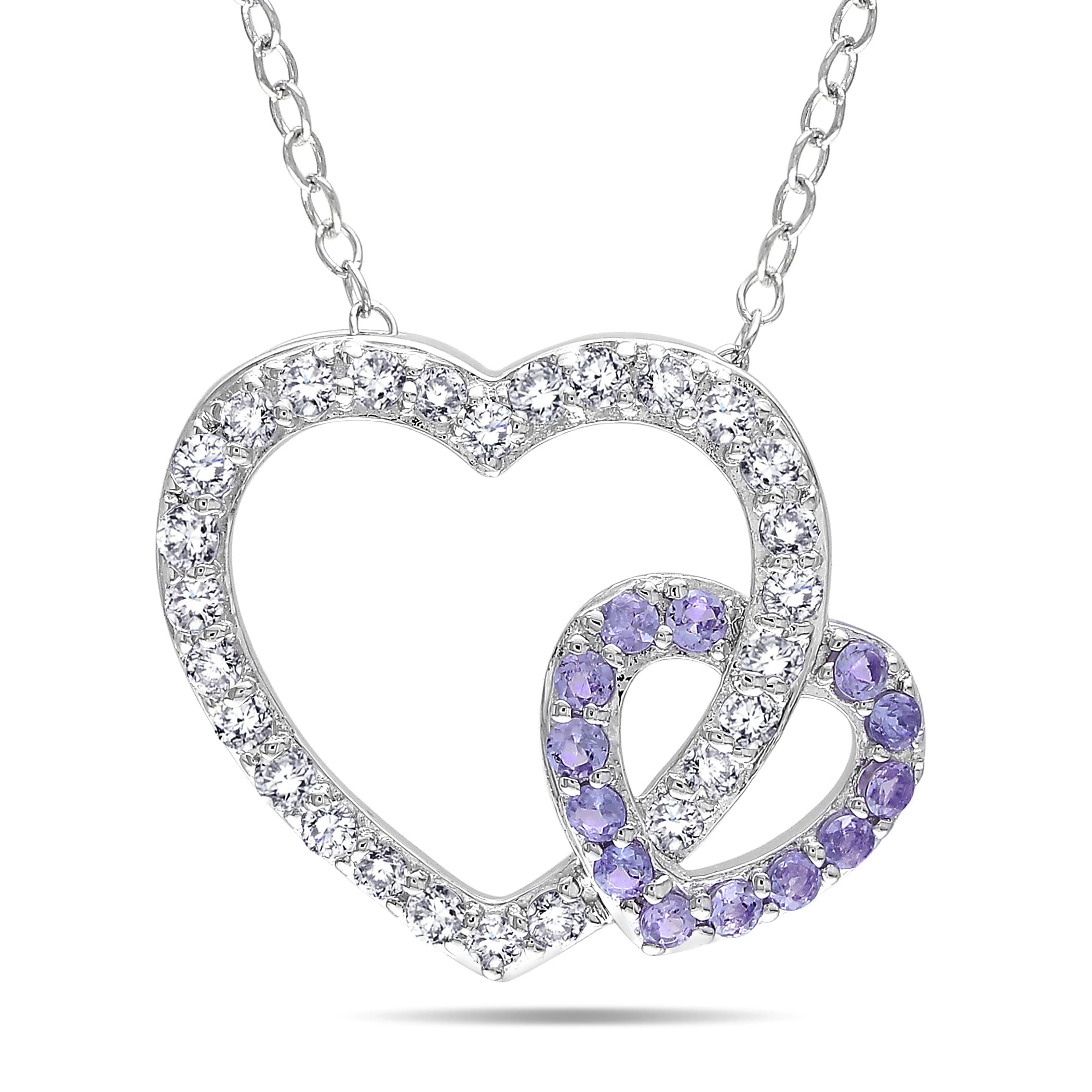 Miadora Sterling Silver Gemstone and Diamond Heart Necklace (H-I,I3)
