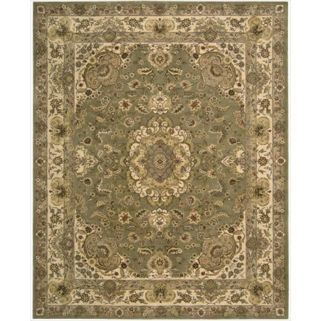 "Nourison 2000 Hand-Tufted Tabriz Green Floral-Pattern Rug (9'9"" x 13'9"")"