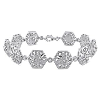 Haylee Jewels Sterling Silver 1/5ct TDW Diamond Bracelet (G-H, I1-I2)