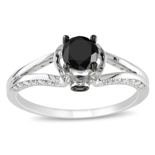 Miadora 14k White Gold 1ct TDW Black and White Diamond Ring (G-H, I1-I2)