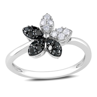 Miadora 14k White Gold 1/4ct TDW Black and White Diamond Ring (G-H, I1-I2)
