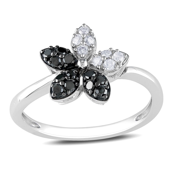 Miadora 14k White Gold 1/4ct TDW Black and White Diamond Flower Fashion Ring (G-H, I1-I2)
