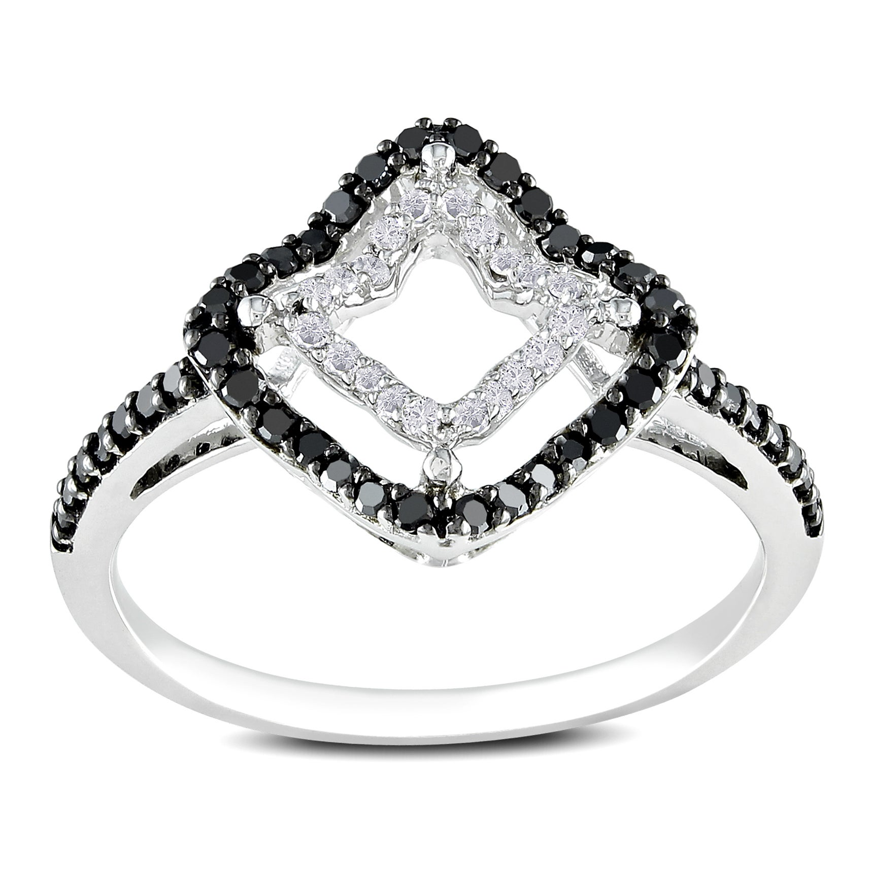 Miadora 14k White Gold 1/3ct TDW Prong-set Black and White Diamond Ring (G-H, I1-I2)