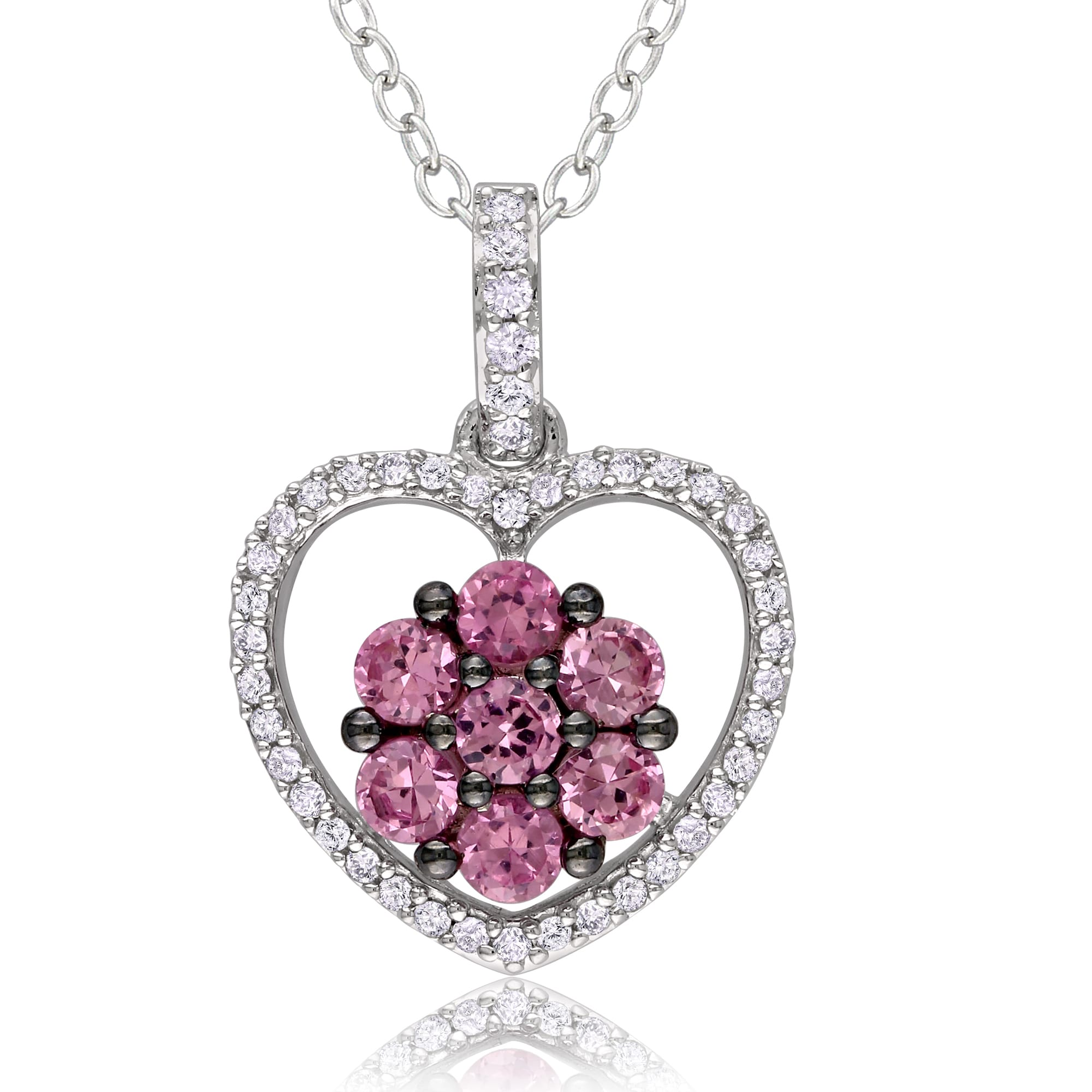 Miadora Sterling Silver Pink Sapphire and 1/6ct TDW Diamond Necklace (H-I, I3)