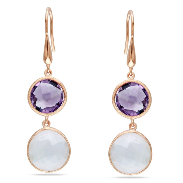 Miadora 18k Rose Gold Plated Silver Multi-Gemstone Dangle Earrings