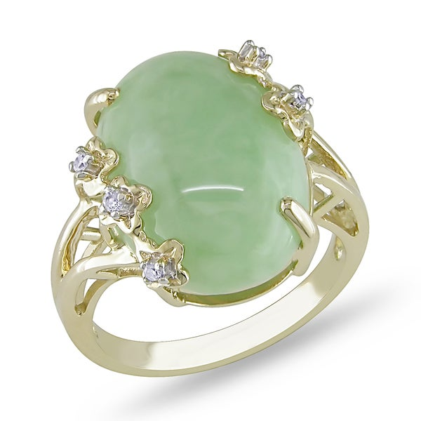 Miadora 14k Yellow Gold Green Jade and Diamond Accent Ring (G-H, I1-I2)