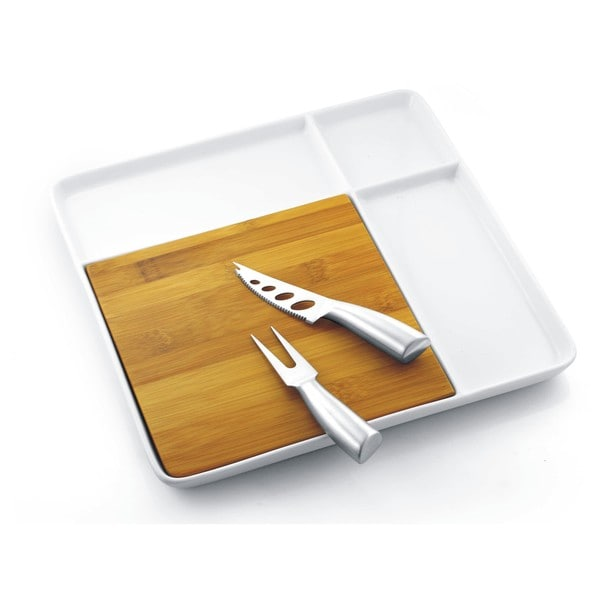 Porcelain Serving Tray with Bamboo Cutting Board and Steel Cutlery