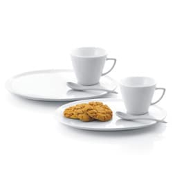 White Porcelain 6-piece Dessert Plate, Saucer and Spoon Set