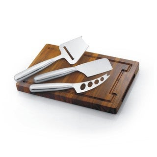 Acacia Wood Cheese Board with Stainless Steel Knife Set