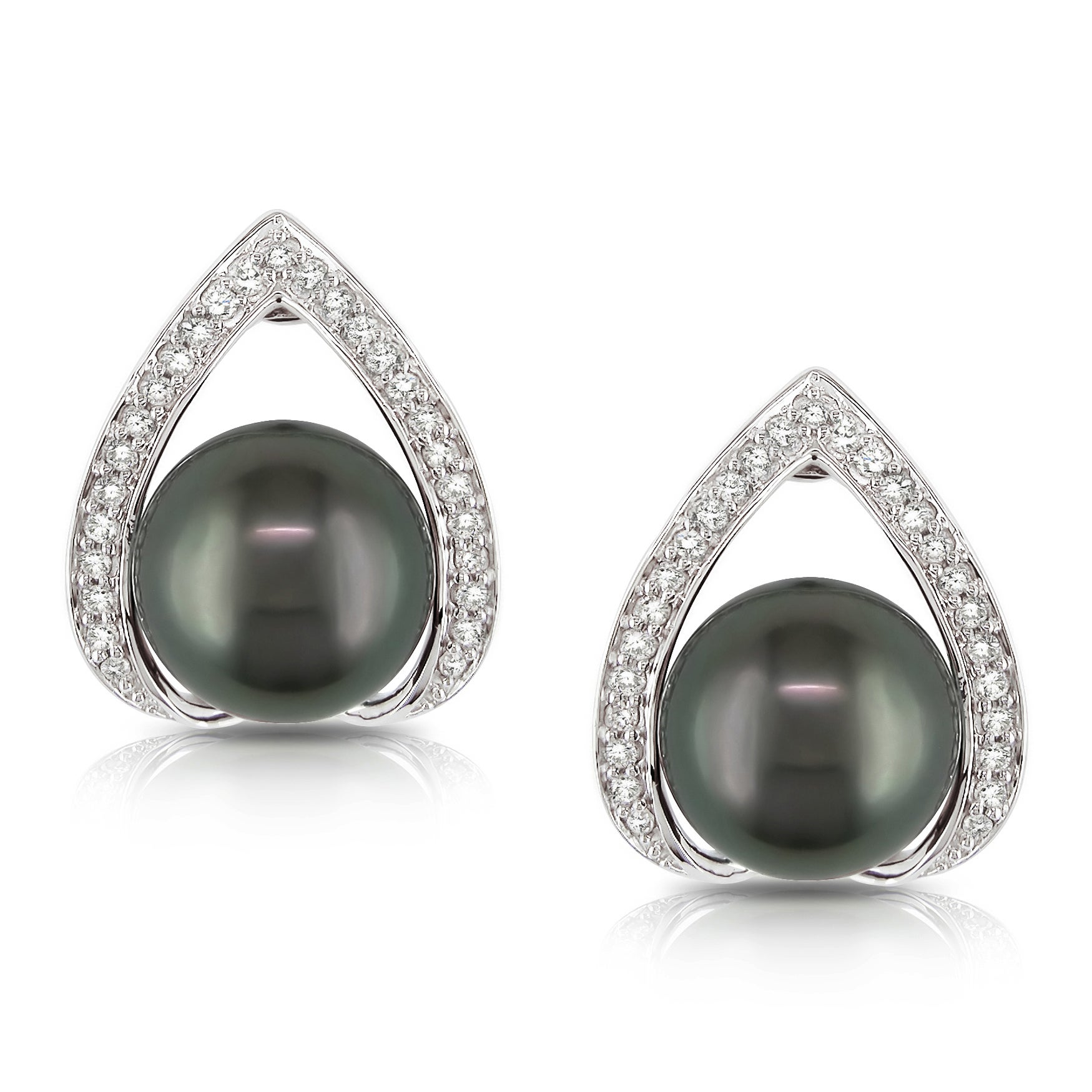 Miadora 14k White Gold Tahitain Pearl and 1/4ct TDW Diamond Earrings (H-I, I2-I3)