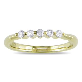 Miadora 10k Yellow Gold 1/5ct TDW Diamond Anniversary Ring (H-I, I2)