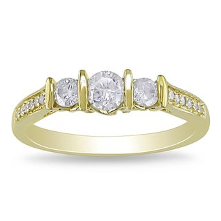 Miadora 10k Yellow Gold 1/2ct TDW Diamond 3-Stone Ring (H-I, I2-I3)