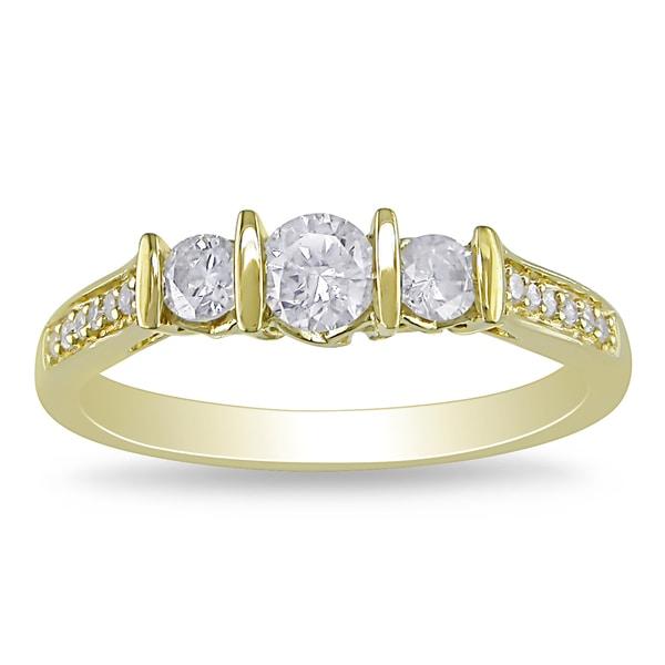 Miadora 10k Yellow Gold 1/2ct TDW Diamond Ring (H-I, I2-I3)