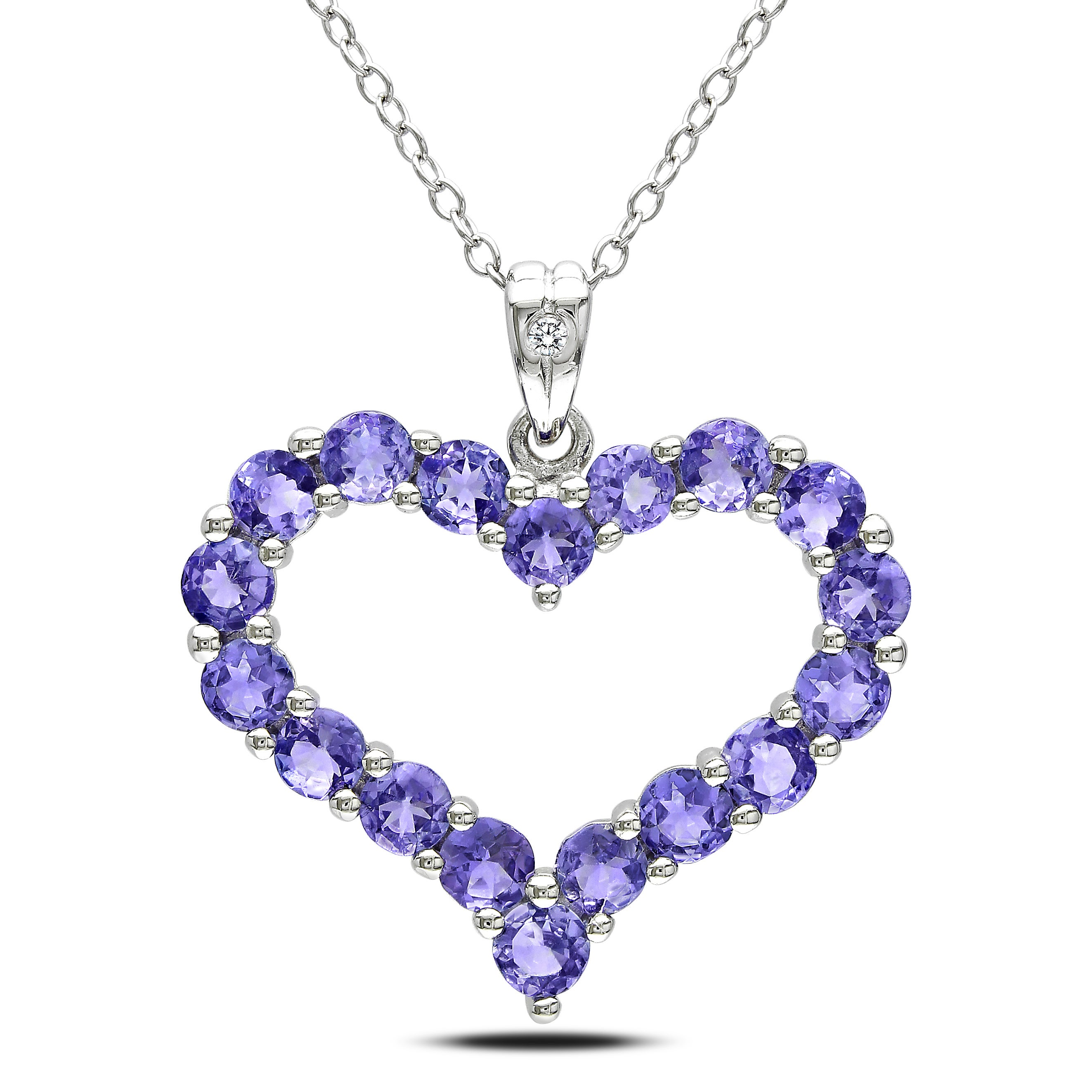 Tanzanite Necklace Tanzanite: Miadora Sterling Silver Tanzanite And Diamond Necklace (H