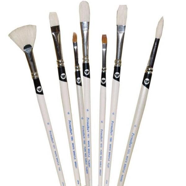 Weber Permalba Beginner Oil Brush White Bristle Set of 7