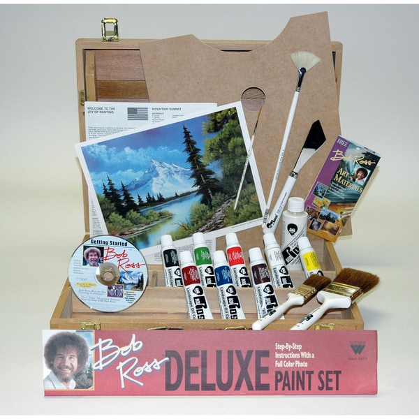 Weber Bob Ross Deluxe Wood Box Set with 1 Hour DVD