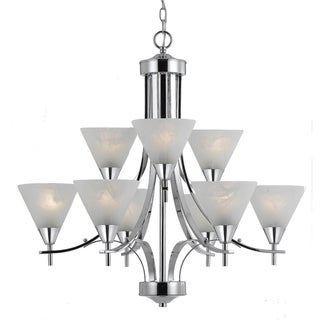 Contemporary 9-light Plated Chrome Chandelier