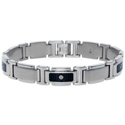 Stainless Steel Men's 1/10ct TDW Diamond Link Bracelet (I-J, I2-I3)