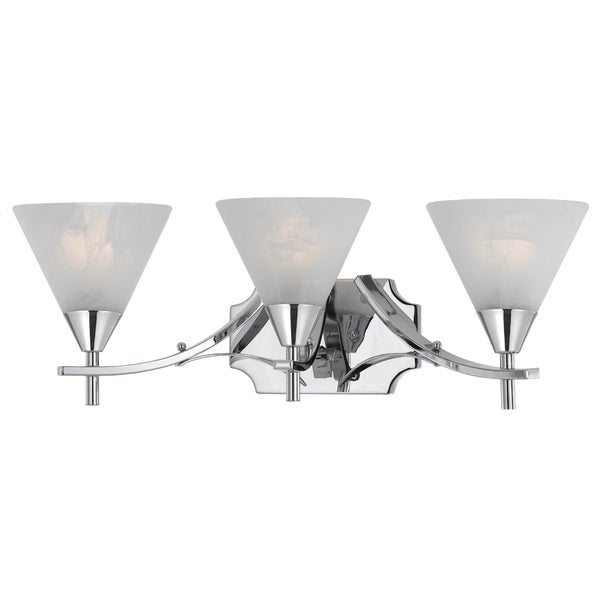 Contemporary 3 light Bath/Sconce in Plated Chrome