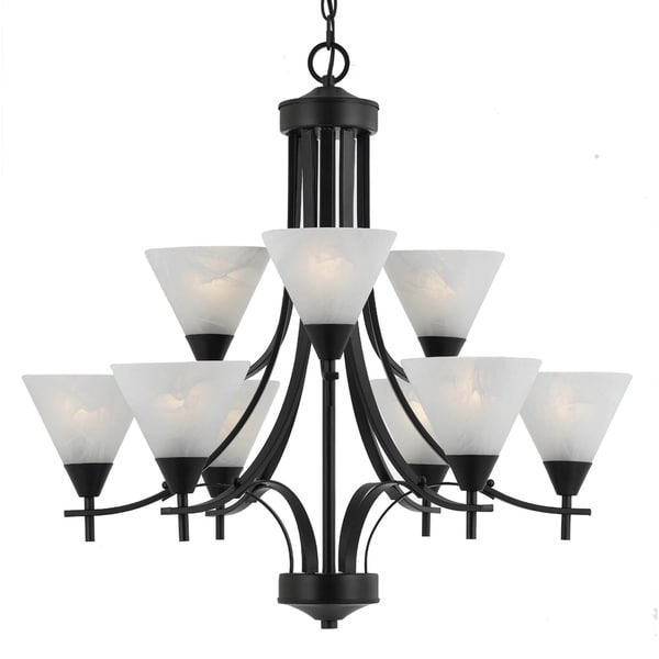 Transitional 9 light Chandelier in English Bronze