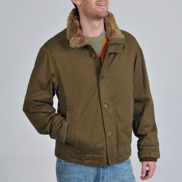 BKE Men's Corduroy Faux Fur Trim Jacket