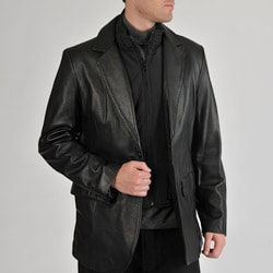 Excelled Men's Leather 2-button Nylon Bib Insert Blazer