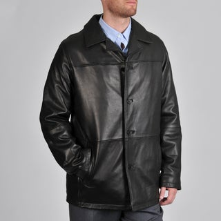 Excelled Men's Black Lamb Leather Car Coat