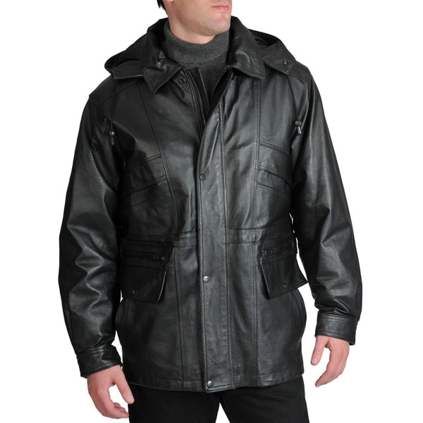 Excelled Men's Leather Parka with Removable Hood in Black Size XL (As Is Item)