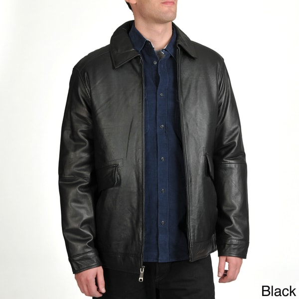 Excelled Men's Lamb Leather Straight Hem Jacket
