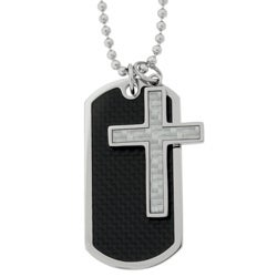 Stainless Steel Two-piece Dog Tag in Carbon with Cross Pendant Necklace