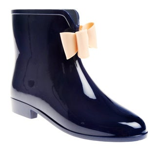 Henry Ferrera Women's Solid Bow Detail Rubber Ankle Rain boot